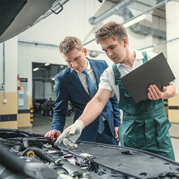Mechanic using Computer as support